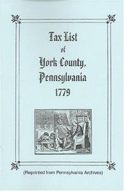 Cover of: Tax List of York County, Pennsylvania, 1779