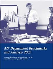 Cover of: A/P Department Benchmarks and Analysis 2003