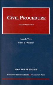 Cover of: Civil Procedure (2003 supplement) (Supplement) | Whitten Teply