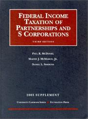 Cover of: 2003 Supplement to Federal Income Taxation of Partnerships and S Corporations | Paul R. McDaniel