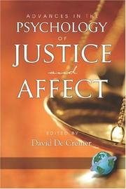Cover of: Advances in the Psychology of Justice and Affect | David, De Cremer