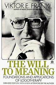 Cover of: The Will to Meaning