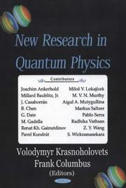 Cover of: New Research in Quantum Physics