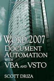 Cover of: Word 2007 Document Automation with VBA and VSTO | Scott Driza