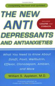 Cover of: The New Antidepressants and Antianxieties | William S. Appleton