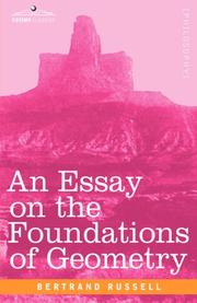 Cover of: An Essay on the Foundations of Geometry | Bertrand Russell