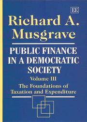 Cover of: Public Finance in a Democratic Society Volume III