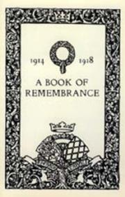 Cover of: Book of Remembrance 1914 1918(watford Grammar School ) | Naval & Military Press