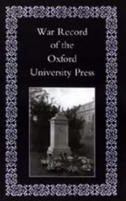 Cover of: War Record of the University Press, Oxford (War Record) | Naval & Military Press