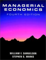 Cover of: Managerial economics | William Samuelson
