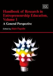 Cover of: Handbook of Reseach in Entrepreneurship Education | Alain Fayolle