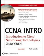 Cover of: CCNA INTRO: Introduction to Cisco Networking Technologies Study Guide | Todd Lammle