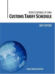 Cover of: Customs Tariff Schedule of the People