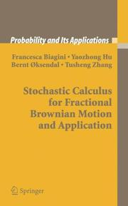 Cover of: Stochastic calculus for fractional Brownian motion and applications |