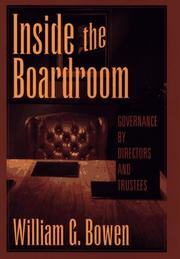 Cover of: Inside the boardroom | William G. Bowen