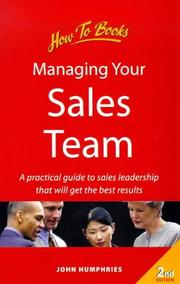 Cover of: Managing Your Sales Team
