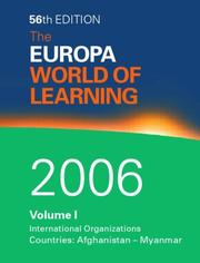 Cover of: The Europa World of Learning 2006, 2 Volume Set |