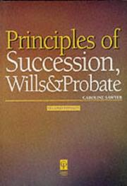 Cover of: Principles of Succession, Wills & Probate | Caroline Sawyer