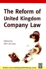 Cover of: Reform of UK Company Law | De Lacy
