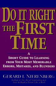 Cover of: Doing It Right the First Time | Gerard I. Nierenberg