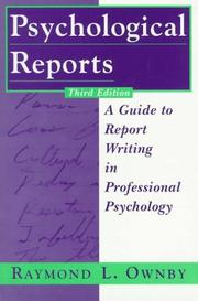 Cover of: Psychological reports