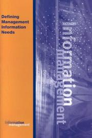 Cover of: Defining Management Information Needs (Management Information Systems)