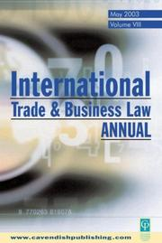 Cover of: International Trade & Business Law Annual Vol VIII | Gabriel Moens