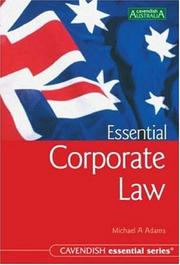 Cover of: Australian Essential Corporate Law 2/e | Michael Adams