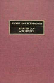 Cover of: Essays in Law and History
