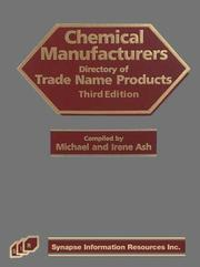 Cover of: Chemical Manufacturers Directory of Trade Name Products
