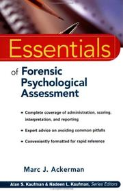 Cover of: Essentials of forensic psychological assessment by Marc J. Ackerman