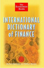 Cover of: International Dictionary of Finance | Bannock, Graham.