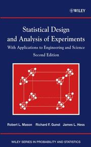 Cover of: Statistical Design and Analysis of Experiments, with Applications to Engineering and Science | Robert L. Mason