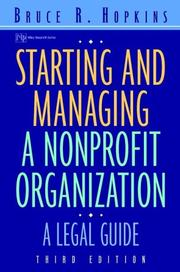 Cover of: Starting and managing a nonprofit organization | Bruce R. Hopkins