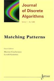 Cover of: Matching Patterns (Journal of Discrete Algorithms)