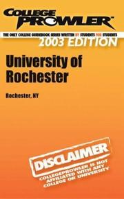 Cover of: College Prowler University of Rochester | Paul J. Booth