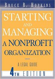 Cover of: Starting and managing a nonprofit organization: a legal guide