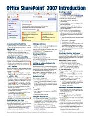 Cover of: Microsoft Office SharePoint 2007 Introduction Quick Reference Guide (Cheat Sheet of Instructions, Tips & Shortcuts - Laminated) | Beezix Inc