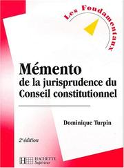 Cover of: Mémento de jurisprudence du Conseil constitutionnel