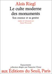 Cover of: Le culte moderne des monuments