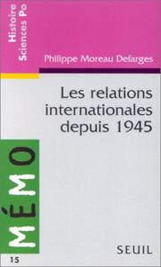 Cover of: Les relations internationales depuis 1945