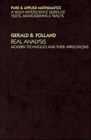 Cover of: Real analysis | G. B. Folland