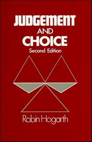 Cover of: Judgement and choice | Robin M. Hogarth