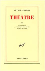 Cover of: Théâtre, tome III