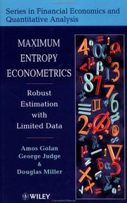 Cover of: Maximum entropy econometrics | Amos Golan