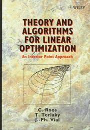 Cover of: Theory and algorithms for linear optimization | Cornelis Roos