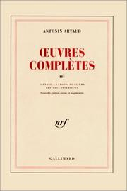 Cover of: Oeuvres complètes, tome 3