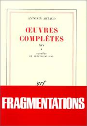 Cover of: Oeuvres complètes, tome 14, livre 1
