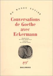 Cover of: Conversations de Goethe avec Eckermann