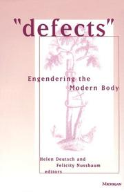 Cover of: Defects: Engendering the Modern Body (Corporealities: Discourses of Disability) |